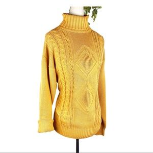VTG Mustard Chunky Cable Knit Turtleneck Sweater